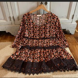 Floral Boho lace hem tunic dress orange & brown